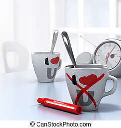 Leaving Relationship Concept, Couple Divorce - Two mugs with...