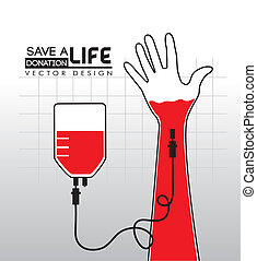 donate blood over gray background vector illustration