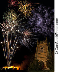 Firework Display on 5th November in England - Bonfire and...