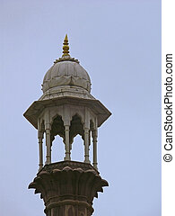 Minar pillar of Taj-ul Masjid, one of the largest mosques in...