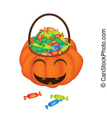 Happy Jack-o-Lantern Pumpkin Basket with Candies -...
