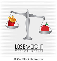 lose weight design over lineal background vector...