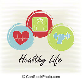 healthy life over lineal background vector illustration