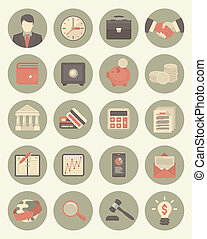 Financial and Business Gray Icons - Set of 20 modern flat...