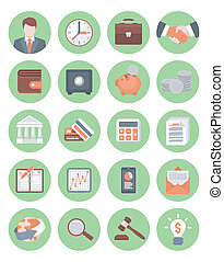 Financial and Business Green Icons - Set of 20 modern flat...