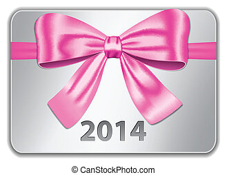 2014 gift card with nice pink bow. Ribbon. Vector...