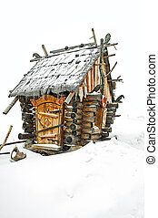 Covered - Fairytale log cabin in a strong snowfall