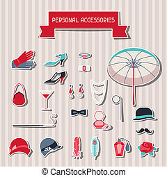 Retro personal accessories stickers of 1920s style
