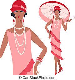 retro, młody, piękny, dziewczyna, 1920s, styl