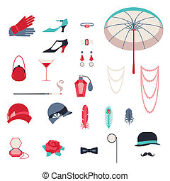 Retro personal accessories, icons and objects of 1920s style...