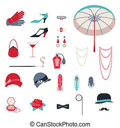 Retro, personal, accesorios, iconos, objetos, 1920s, estilo
