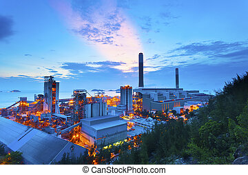 Power plant at sunset in Hong Kong