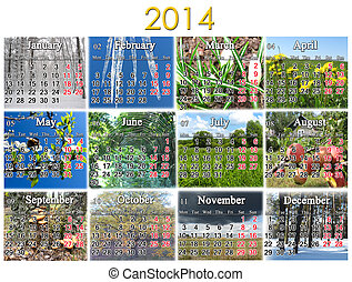 calendar for 2014 year on the background of great number of...
