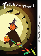 Happy Halloween Pumpkin with Candy Basket on Night Background