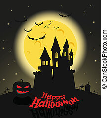 Dark castle in a full moon. Happy Halloween illustration