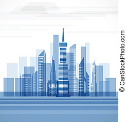 Big city on the river. Vector illustration