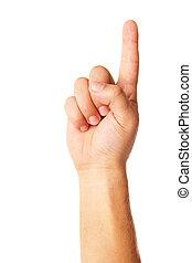 Hand poiting symbol isolated on white background