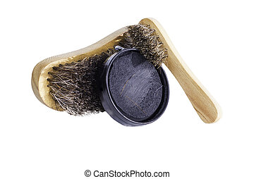 Shoe Shine Equipment - Shoe shine brushes and can of black...