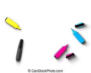 CMYK felt-tip pens on white background