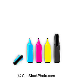 CMYK felt-tip pens isolated