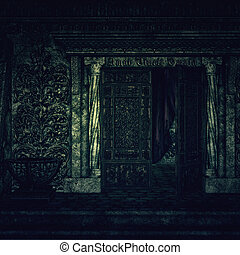 Cemetery Crypt - Digitally rendered image of old hounted...