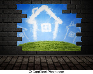 Cloud houses in hole in brick wall - Illustration of broken...