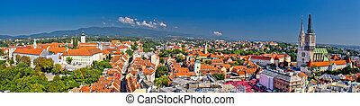 Historic city of Zagreb panoramic view, Croatia