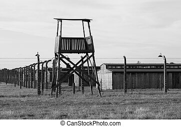Sentry box at Auschwitz Birkenau concentration camp, Poland