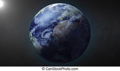 Earth zooms in on North Pole - Earth animation zooms in on...