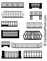 Balconies. - The decoration of balconies, contour in black,...