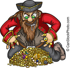 Pirate with gold treasure - Greedy pirate is capture the...