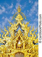 Famous Gold church in Wat Rong Khun, Chiang Rai province,...
