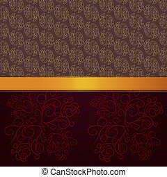 Pattern background with gold ribbon - Abstract background...