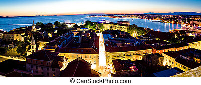 Adriatic city of Zadar aerial panorama on evening
