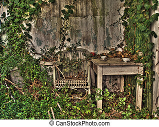 forgotten proch - Old abandoned houses porch in high dynamic...