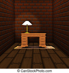 Workroom with table - Illustration of old room with brick...
