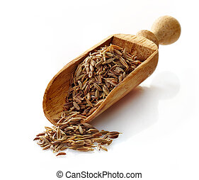 wooden scoop with cumin on a white background