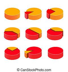 Colorful diagram pie set