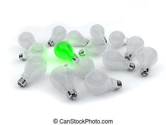 ライト, 1(人・つ), 緑, 電球
