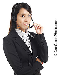 Call center business woman with headset