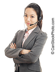 Asian customer service woman with headset