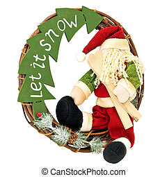 Santa wreath - Christmas wreath with Santa isolated on white...