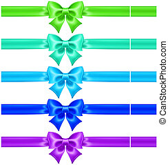 Silk bows in cool colors with ribbons - Vector illustration...