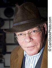 Senior Man - A rich contrast close up portrait of a senior...