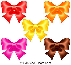 Silk bows in warm colors - Vector illustration - collection...