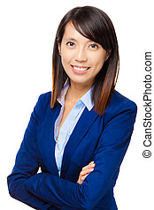 Asian businesswoman isolated on white