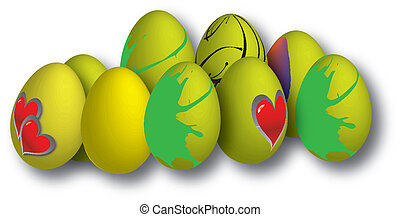drawing of easter eggs in different