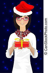 girl with Christmas gift vector