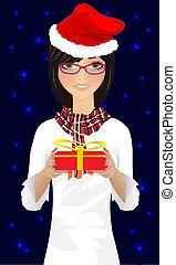 girl with Christmas gift vector