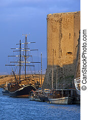 Kyrenia - Turkish Cyprus - Boats moored near the castle in...